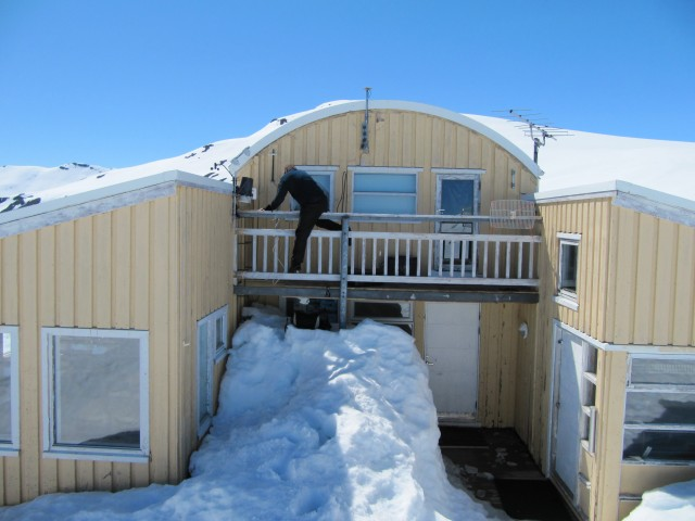 we usually use the ladder to get up to the balcony where our reference station lives - but there was so much snow we could just walk up! The panel wifi antenna had self-destructed but the long range WiFi was still ok.