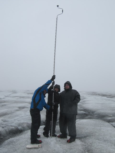 We are installing a Geophone sensor node 4m in the ice - it took a lot of drilling by a combined effort with this hand-drill!