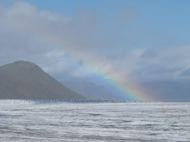 The only advantage of light rain on the glacier today...