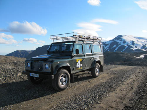 rented in the UK and shipped over to Iceland - the land rover has lots of luggage space - especially on that rack - plus you never wonder if it can cope with the mountain drive.